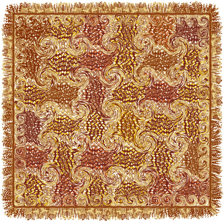 Square carpet with  grunge striped swirled pattern in brown,yellow,white colors and fringe Stock Illustratie