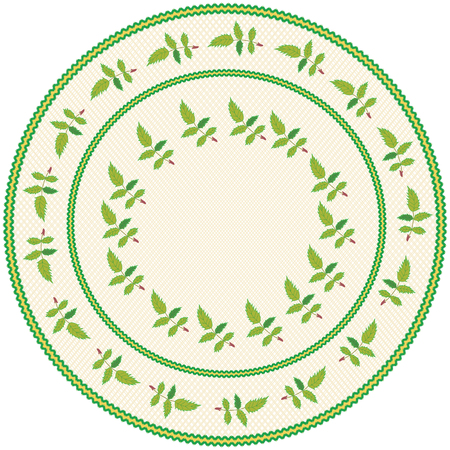 Round serviette with abstract embroidery with leafs in green,yellow colors on weave beige backdrop with  fringe  isolated on white