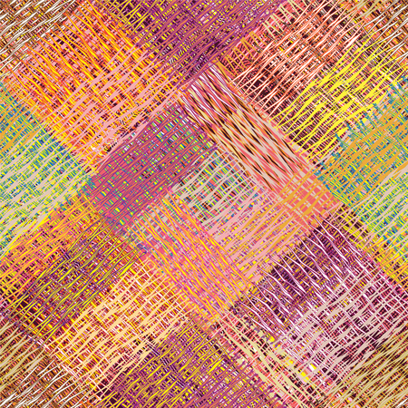 Colorful diagonal guilt seamless pattern with grunge striped, wavy,weave square elements Illustration