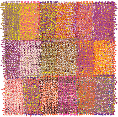 Mat with geometric pattern with row of grunge striped weave colorful rectangular elements and fringe isolated on white