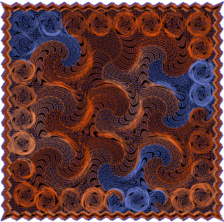 Tapestry with grunge  striped and swirled pattern in orange,brown ,blue colors with fringe isolated on white