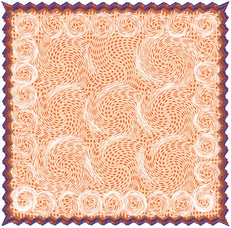 Napkin with grunge  striped and swirled pattern in beige, orange,brown ,blue colors with fringe isolated on white Ilustração