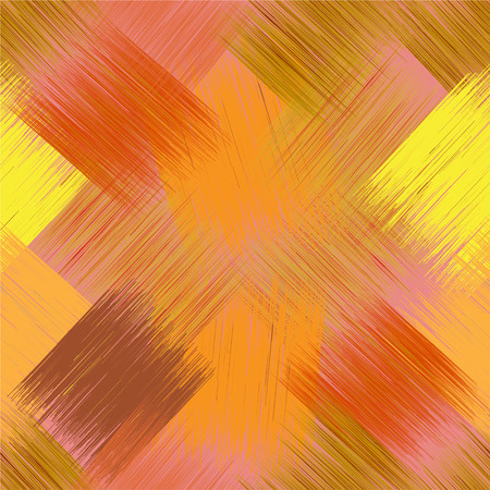Seamless diagonal pattern with grunge striped square elements in yellow,orange, brown colors on pink backdrop for web design