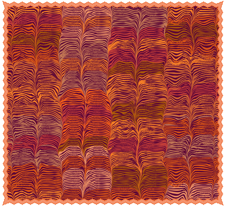 Colorful mat with grunge striped wavy pattern and fringe isolated on white Stock Illustratie