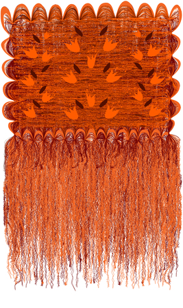 Decorative modern grunge striped and wavy tapestry with floral pattern with abstract bells and long fringe in orange,brown colors isolated on white