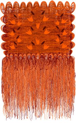 Tapiz ondulado y rayado grunge moderno decorativo con patrón floral con campanas abstractas y flecos largos en colores naranja, marrón aislados en blanco