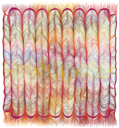 Modern colorful tapestry with vertical grunge striped,wavy,lacy pattern and fringe isolated on white