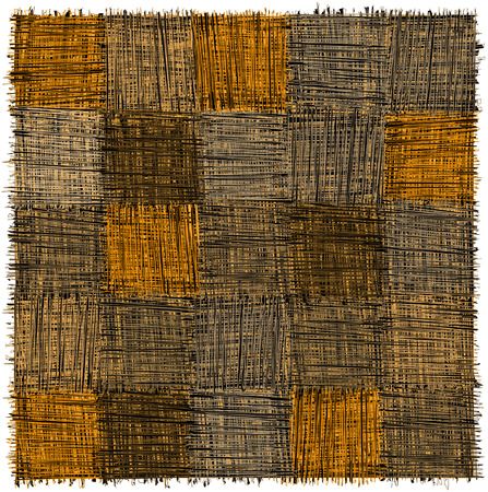 Rustic checkered mat with  grunge striped rough square elements in yelow,beige,grey,blak colors isolated on white