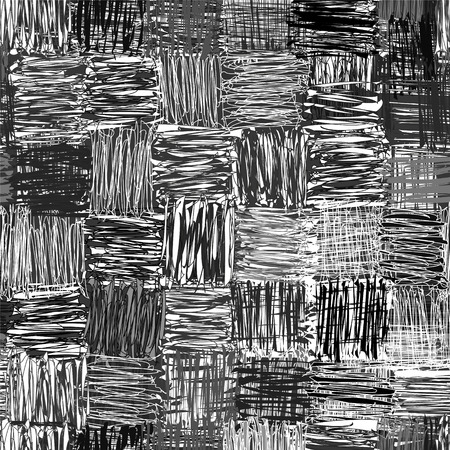 Black,white,grey  checkered seamless pattern with grunge striped square elements