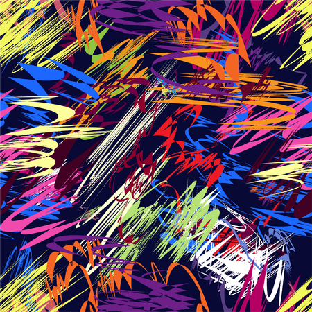 Grunge striped irregular chaotic colorful seamless pattern Illustration