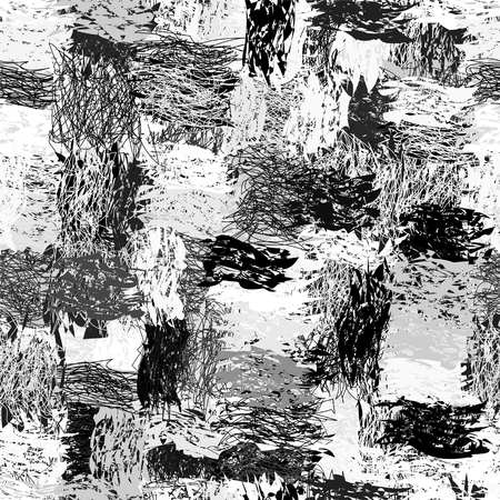 Black and white seamless pattern with grunge striped cartoon blotted elements Illustration