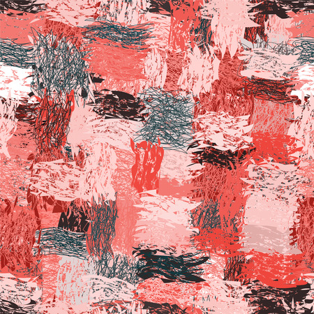 Seamless pattern with cartoon grunge striped wavy intersecting elements in pink,black ,white colors