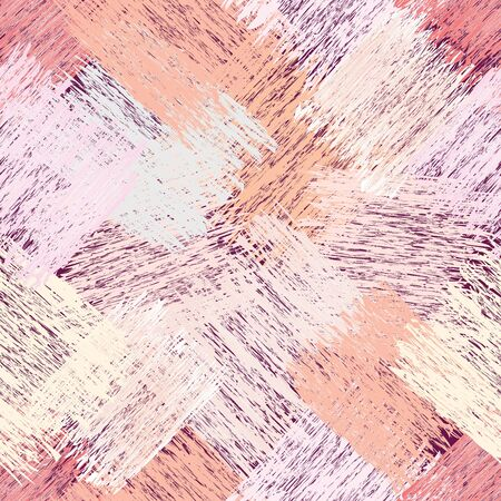 Webbed grunge striped diagonal seamless pattern in pastel orange, pink, yellow, beige colors for web design