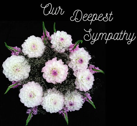 Sympathy card with bouquet of white dahlia on black background, litterig, copy space