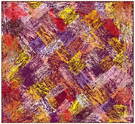 Colorful tapestry with abstract diagonal grunge striped pattern isolated on white