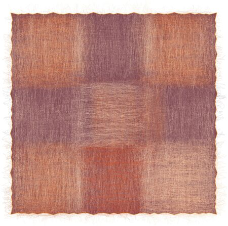Shaggy square checkered rug in orange, beige, brown colors isolated on white