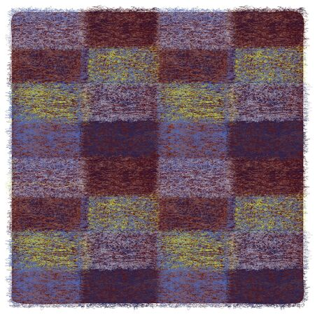 Square checkered plaid with grunge weave elements in blue, brown, yellow colors and fringe 일러스트