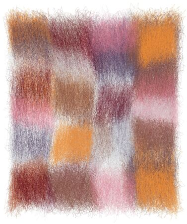 Fluffy checkered plaid with grunge weave colorful square elements in pastel pink, white, blue, orange, violet colors Иллюстрация