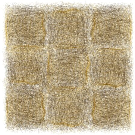 Rustic checkered mat with grunge weave rough square elements in brown, yellow colors isolated on white