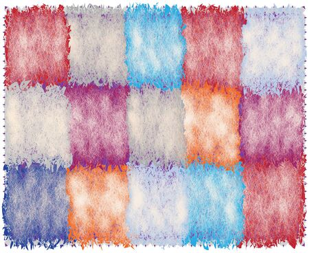 Quilt checkered carpet , rug, mat with colorful grunge rough weave rectangular elements