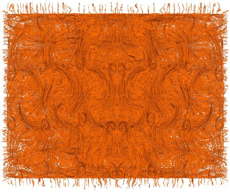 Tapestry with decorative pattern grunge striped and swirls in orange , brown colors isolated on white background Vektoros illusztráció
