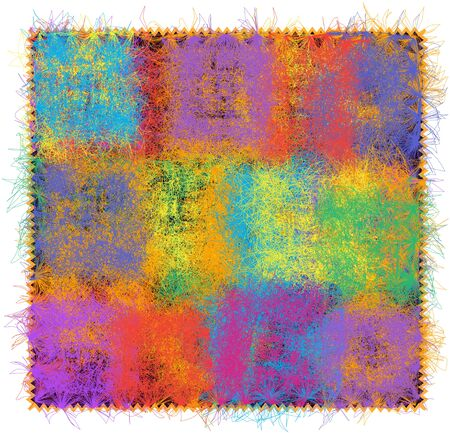 Fluffy mat with rainbow grunge striped, stained, quilt pattern and fringe isolated on white