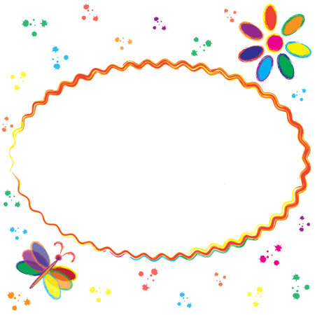 Childish greeting card with oval frame, copy space, stylized rainbow flower and butterfly Ilustração