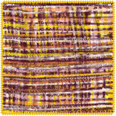 Square mat with horizontal and vertical grunge zigzag stripes in brown, yellow, white, orange, pink colors isolated on whte background