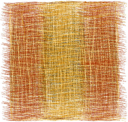 Rustic grunge striped woven rug, mat, carpet, plaid with fringe in brown, beige, orange colors isolated on white background