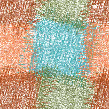 Seamless checkered pattern with grunge rough grid wavy square elements in orange, blue, green, brown colors for web design