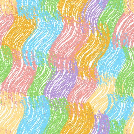 Rainbow seamless pattern with diagonal row of grunge striped, wavy elements for web design