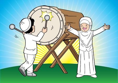 ramadhan: Indonesian muslim eid mubarak celebration day Illustration