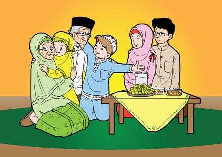 Indonesische familie moslim Eid Mubarak feestdag Stock Illustratie