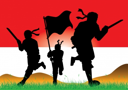 indonesian flag: silhouettes of armed soldiers charging forward