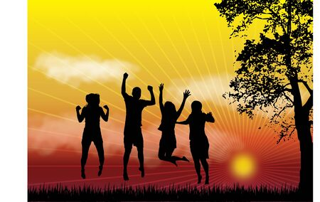 family playing: Silhouette illustration of people jumping on grass during sunset  Illustration