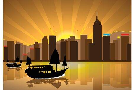 Silhouette illustration of boats cityscape during sunset Çizim
