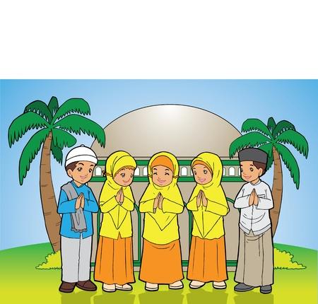 indonesisch: Indonesische Kinderen moslim Eid Mubarak feestdag