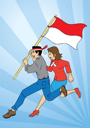 indonesian: Indonesian couple running holding flag