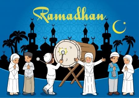 Groep van Kids islamitische Eid Mubarak feestdag