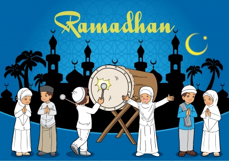 submissiveness: Group of Kids Muslim eid mubarak celebration day