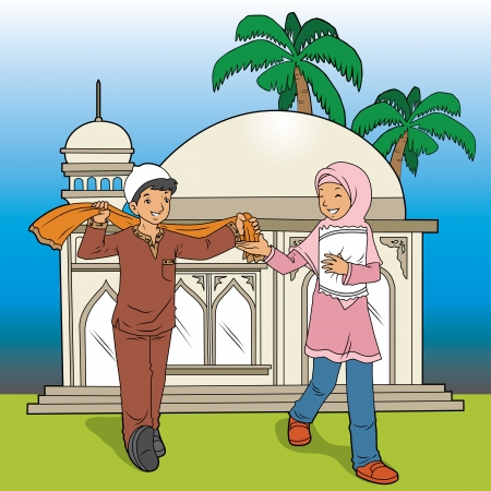 Indonesian Muslim Kids and Mosque 向量圖像