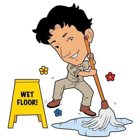 wet floor sign: Janitor