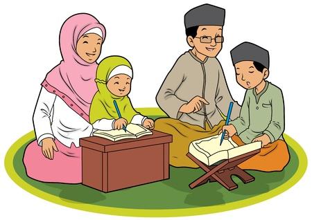 familia orando: Indonesia familia musulmana aprendizaje Corán Vectores