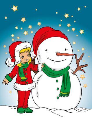 santa girl: Frosty and santa girl  Illustration