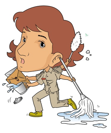 wet cleaning: female janitor Illustration
