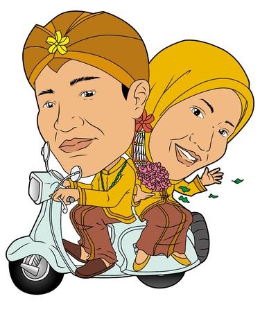 indonesian: traditional wedding Illustration