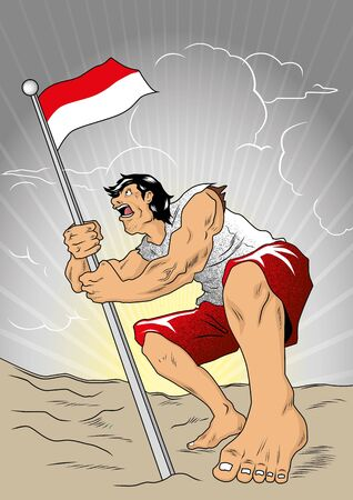 indonesian: An Indonesian crusader defending national flag