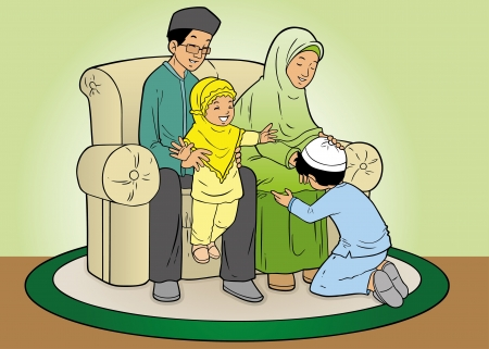 Indonesian muslim family in forgiveness tradition Stock Vector - 16113116