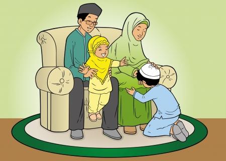 indonesisch: Indonesische moslim familie in vergeving traditie