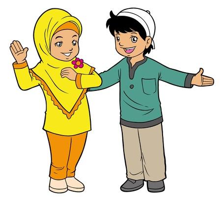 indonesisch: Moslim kinderen spelen Stock Illustratie